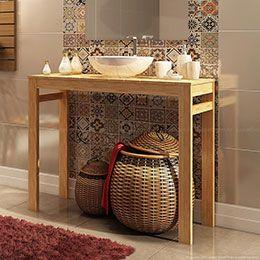 Aparador para Banheiro Veneza Stain Jatobá - Mestra   Lojas KD
