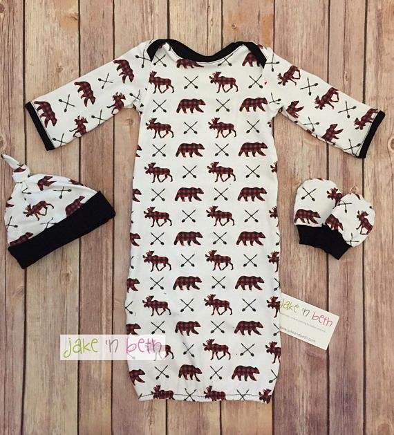 Buffalo plaid baby gown, knot hat, and no scratch mittens, newborn set, This cute little gown is made with soft knit fabric. It comes with a matching knot hat and no scratch mitts. It would be a great gift for a new mom. All items are made in a smoke free, pet free, fragrance free