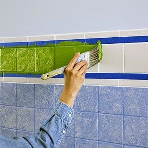 Don't tear it out, just update the colors!.... paint ceramic tiles.... by using Enamel Craft Paint.