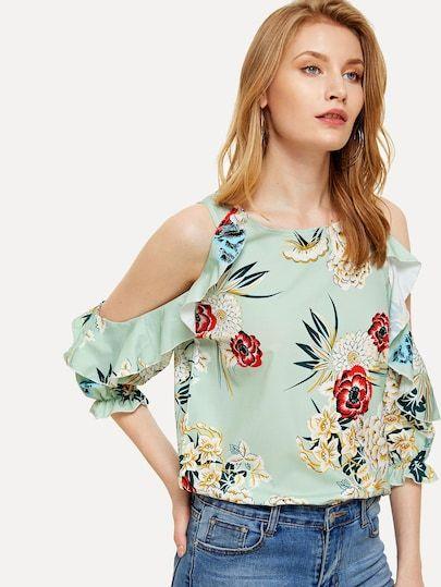 0a139d6ff74 Floral Print Open Shoulder Frill Trim Blouse [blouse180411156] - $26.00 :  moonbaye.com