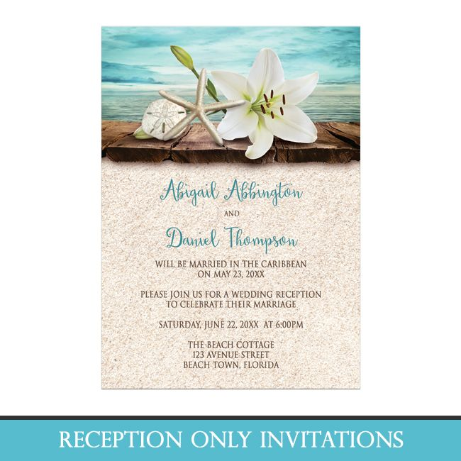 Floral Beach Theme Reception Only Invitations With An Elegant White Lily, A  Starfish, And