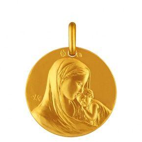 Médaille de bapteme en or de la Vierge à l'enfant Notre Dame de la Tendresse €295