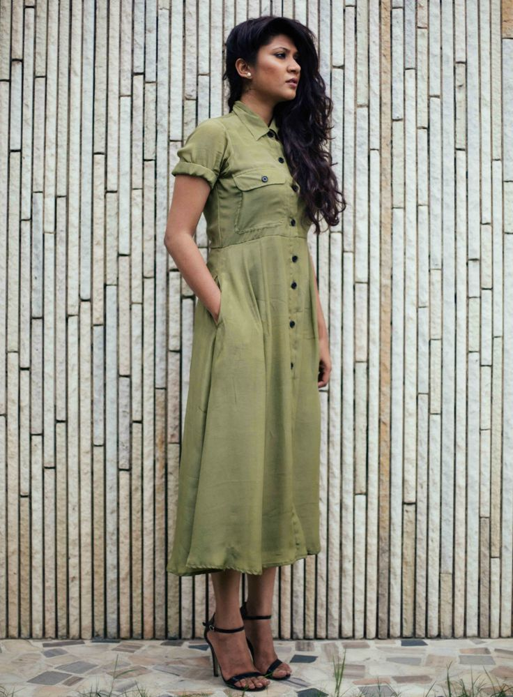 Military green crepe dress by Nafisa Rachel William | The Secret Label