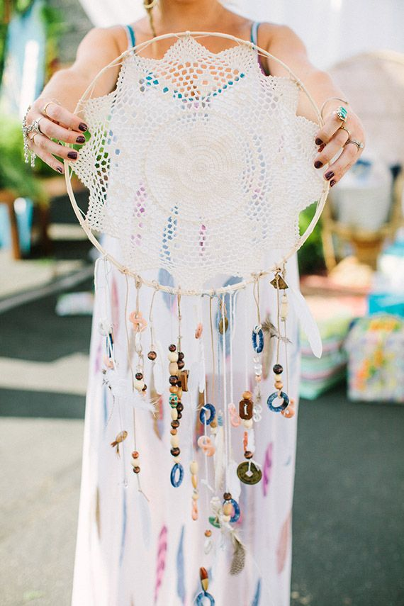 Baby shower activity: Guests contribute to a dreamcatcher to hang in baby's nursery.