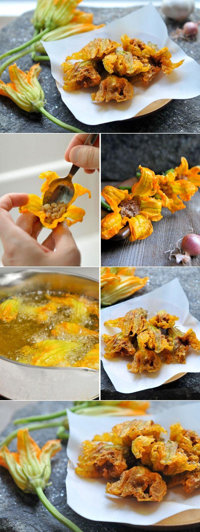 Pork-Stuffed Squash Blossoms | Dawg Fugtong Tod | ดอกฟักทองทอด