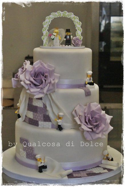 Got to have some LEGO somewhere - The Chef's purple LEGO wedding Cake