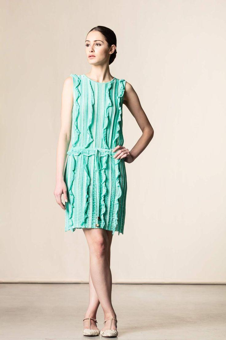 Vestito con ruches acquamarina. #perfectdress #robertascarpa #dressingfab