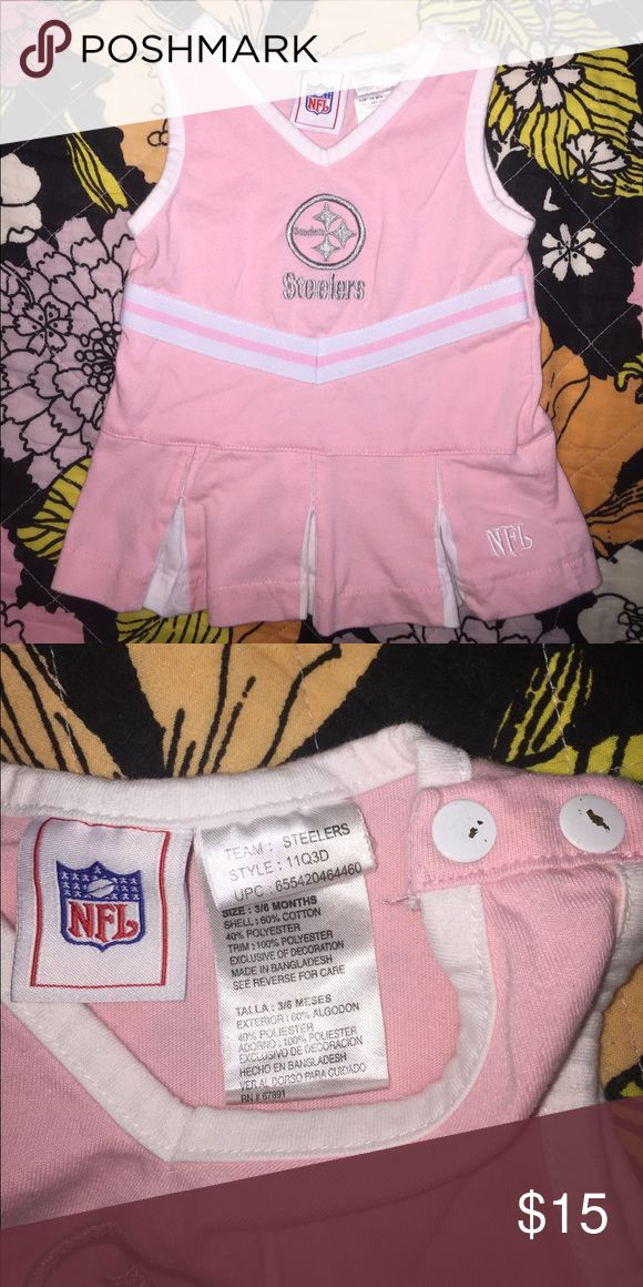 NFL Pittsburgh Steelers cheerleader dress & onesie NFL Pittsburgh Steeler's cheerleader light pink dress with gray logo and white trim, no stains, only signs of wear are on the buttons at the top,  Pink Steelers long sleeve onesie NFL Dresses Casual