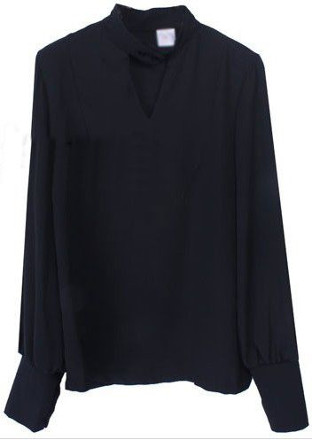 Black Long Puff Sleeve Hollow Chiffon Shirt: Cat, Chiffon Shirt