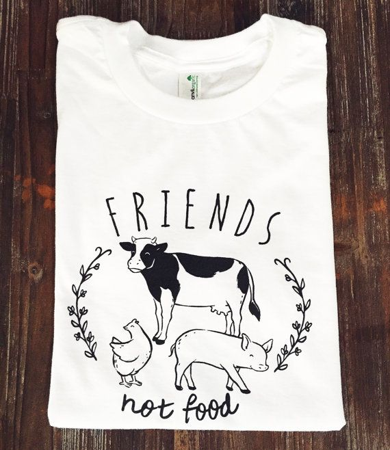 Friends Not Food vegan tshirt vegetarian tshirt by HandInLove