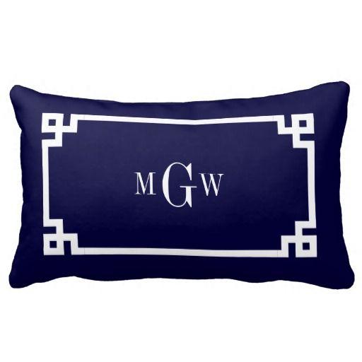 Navy Blue Wht Greek Key #2 Framed 3 Init Monogram Pillow
