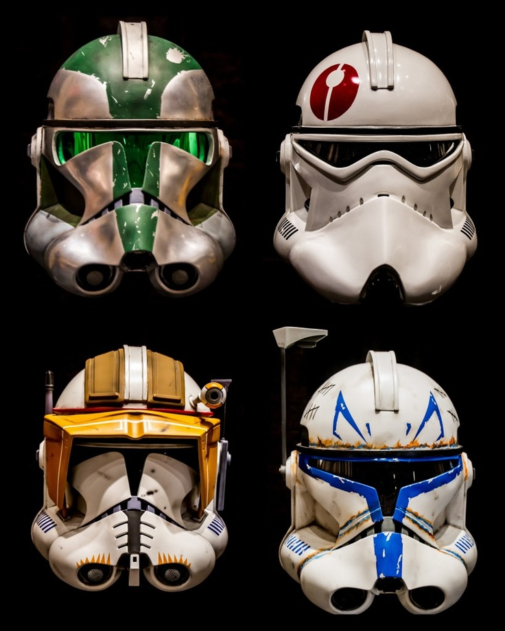 Clone helmets from the 501st Legion room at Star Wars Celebration VI