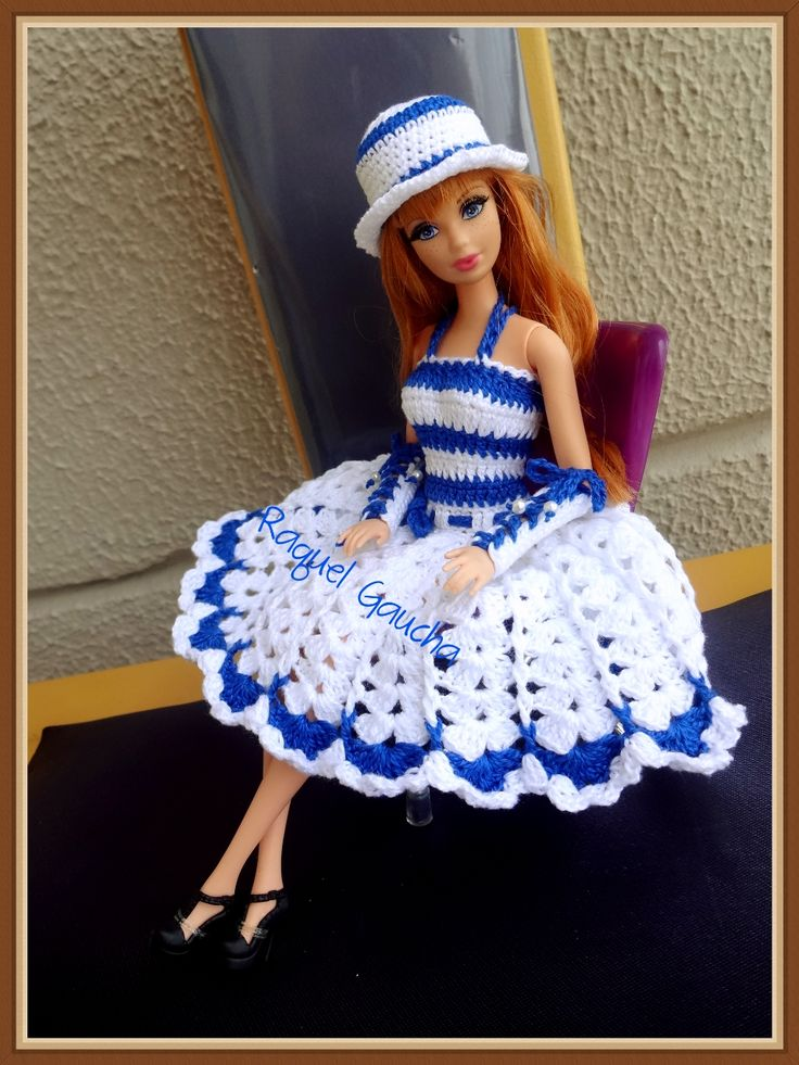 #Doll #Barbie #Crochet #Roupa #Vestido #Muñeca #Cléa5  #RaquelGaucha #Dress