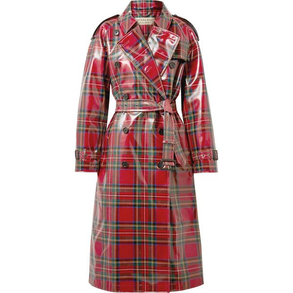 Burberry Coated Tartan Wool Trench Coat 2 695 Liked On Polyvore Featuring Outerwear Coats Red Red Trenchc Burberry Coat Red Plaid Coat Wool Trench Coat