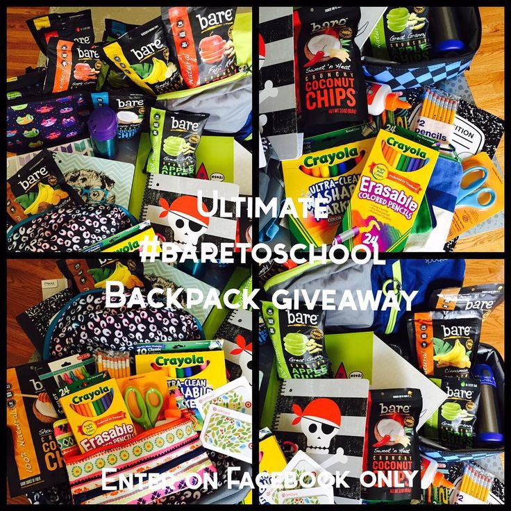 It's #BacktoSchool season and Bare is giving away the coolest gear and crunchiest #snacks with its Ultimate #BaretoSchool Back Pack #Giveaway on FACEBOOK! To enter for your chance to win, head on over to the Bare Snacks #Facebook page - facebook.com/baresnacks. The #BaretoSchool #BackPack Giveaway includes everything pictured here and two $50 giftcards to @target and a School Year's Supply of Bare Snacks! Winner announced August 19, 2015!