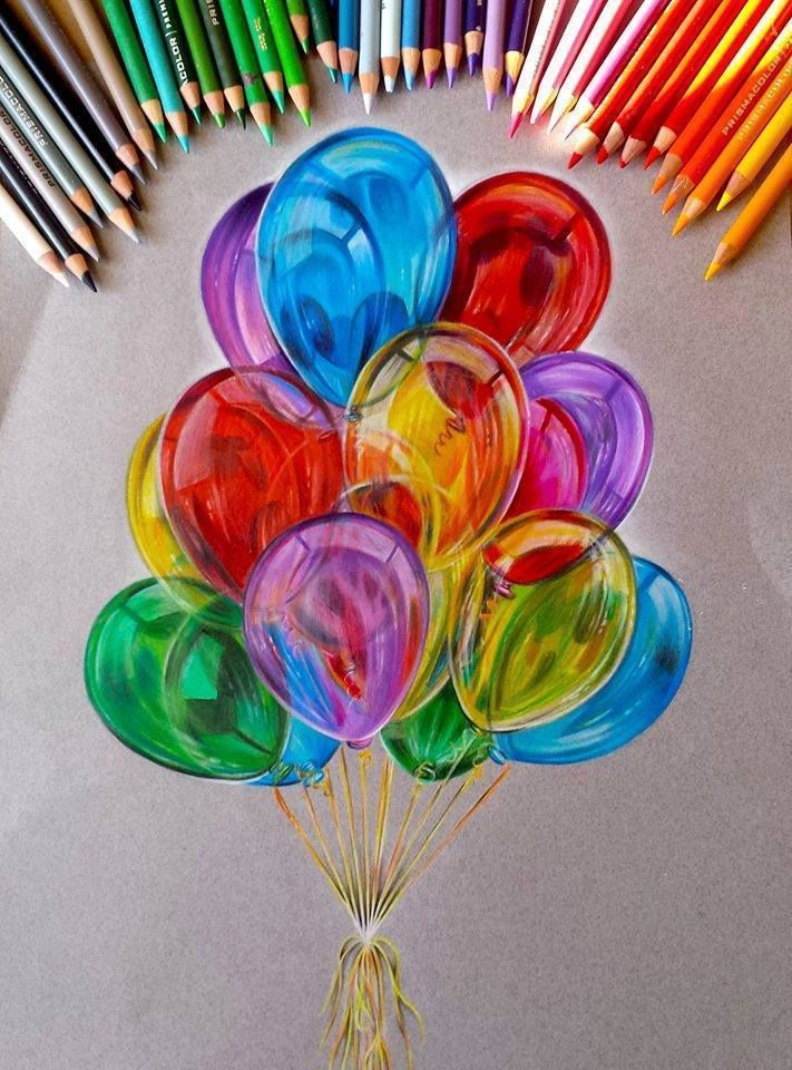 balloon color pencil drawing by Jocelyn Schmidt http://webneel.com/25-beautiful-color-pencil-drawings-valentina-zou-and-drawing-tips-beginners | Design Inspiration http://webneel.com | Follow us www.pinterest.com/webneel Nice work