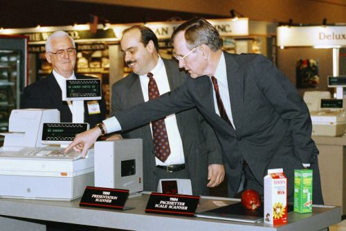 George H.W. Bush, during the 1992 Presidential Election campaign, seen remarking in amazement over checkout technology . While largely overblown, Bill Clinton used this story to portray Bush as an elitist who was out of touch with the people. [[MORE]]    NY Times article about the grocery store visit.