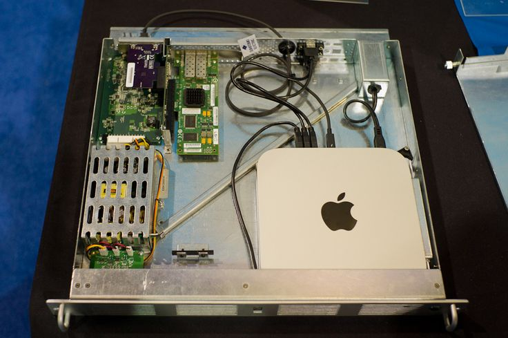 xMac Mini Server by Sonnet fits an Apple Mac Mini into a 1U Rack plus adds additional features & functionality.