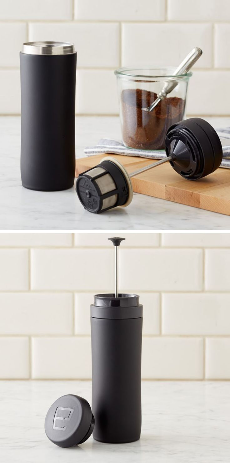 13 Modern Gift Ideas For Coffee Connoisseurs // This travel mug lets you brew a tasty french press coffee without the need for a separate french press coffee maker.