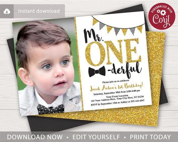 Mr Onederful Birthday Invitation With Photo Editable