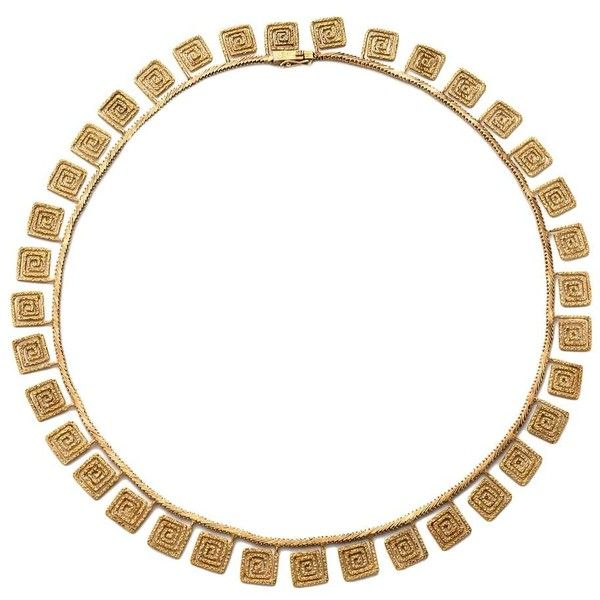 Pre-owned Lalaounis Greek Key Necklace featuring polyvore, fashion, jewelry, necklaces, more necklaces, gold jewelry, 18k gold jewelry, greek key necklace, yellow gold key necklace and 18k gold necklace