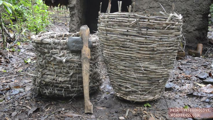I made 2 types of basket and a celt hatchet. The first type of basket made was a coil basket. Bunches of palm leaves where wrapped in thin strips of lawyer c...