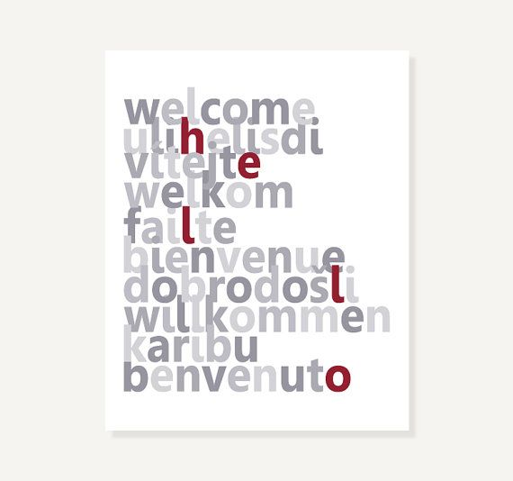 Typographic Art: Welcome Hello Languages Gray and Red by colorbee