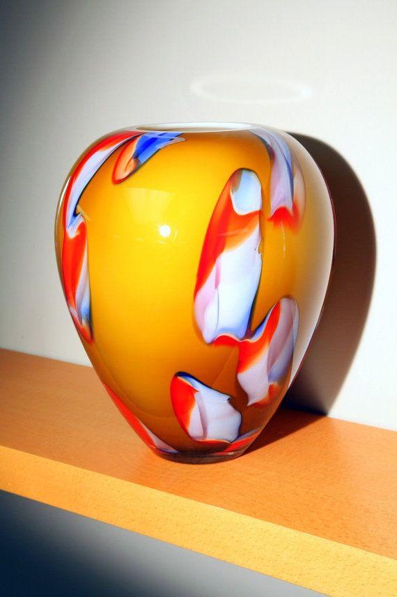 Krosno Glassworks Crystal Art Glass NEBULA Vase by CargoBin1, $79.95
