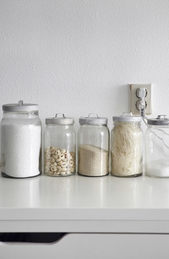 Clear storage jars are great for storing ingredients and knowing how much is left