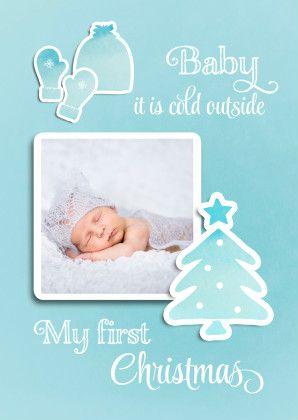 De eerste kerst van je baby. Leuk thema voor een kerstkaart/ Vervang de foto en wellicht is dit de kaart die je dit jaar verstuurt.