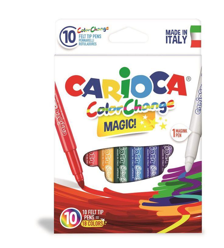 Set carioci Carioca Color Change Magic. Carioca Magic care schimbă culoarea. Culoare peste tot! Dacă te-ai răzgândit în privinţa culorii, poţi oricând să o schimbi cu ajutorul markerul-ului Magic. Astfel, poţi obţine 18 culori diferite. Vârful este fix, neretractabil. Cerneala poate fi uşor îndepărtată de pe mâini doar cu apă, fără săpun.