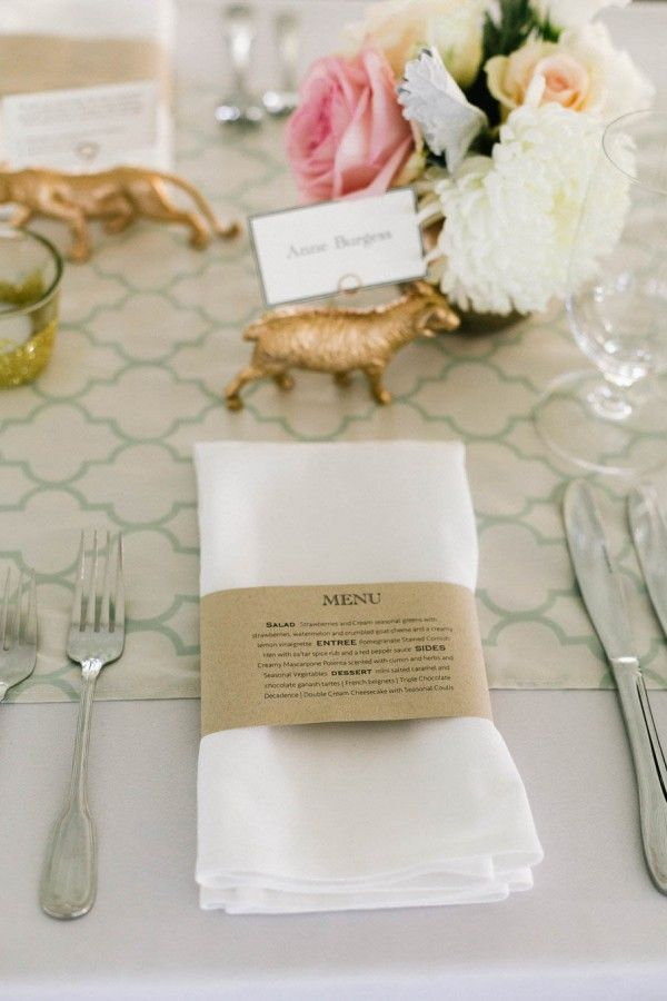think of different ways to bring interest to a table setting, like this detail; create a napkin band that gives the menu information. creative, modern and new.