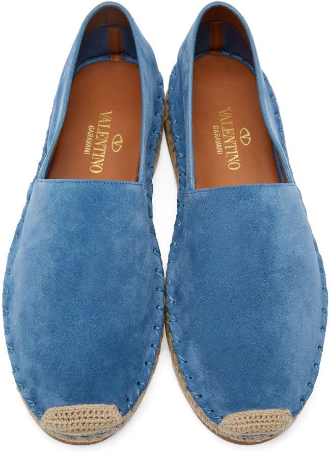 Valentino: Blue Suede Espadrilles | SSENSE