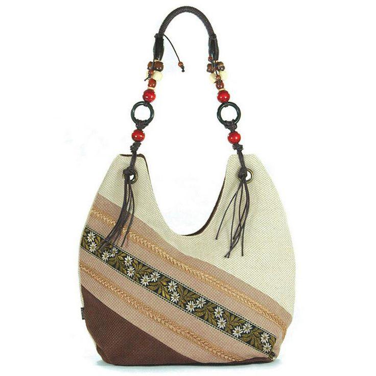 linen Woman Bag Vintage Hmong Tribal Ethnic Handbags Thai Indian Women's Messenger Bags Embroidery Fashion Leisure Shoulder bags