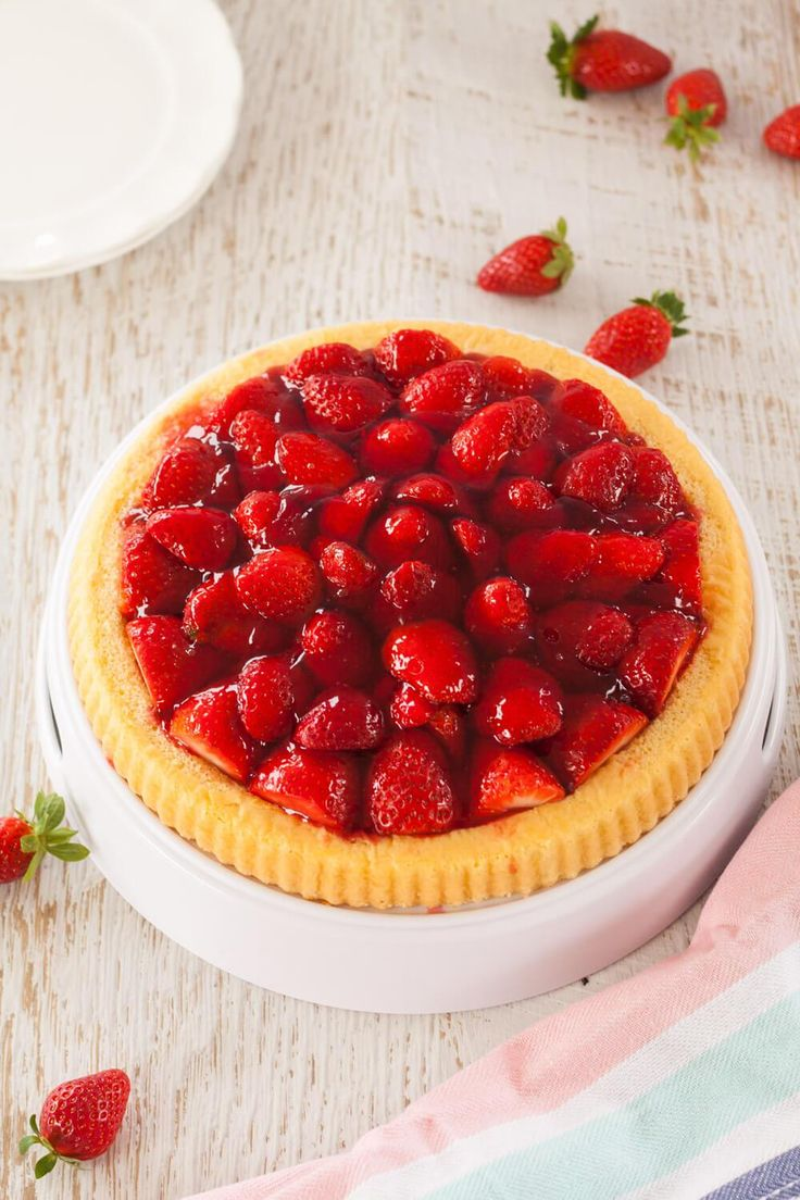Simple Strawberry Flan by Sugar Salt Magic. A strawberry tart with sponge base. A quick and easy recipe.