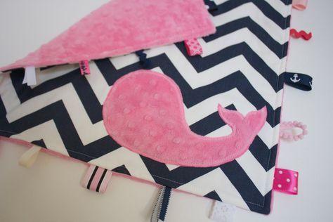 Baby girl NAUTICAL blanket sensory toy lovey pink by LilKingdom