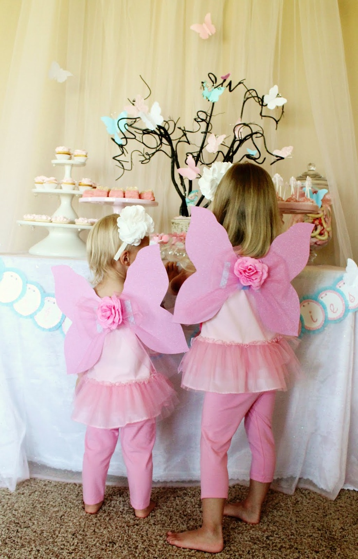 Fairy birthday party, complete with DIY fairy dust, wings and butterfly magnet crafts.