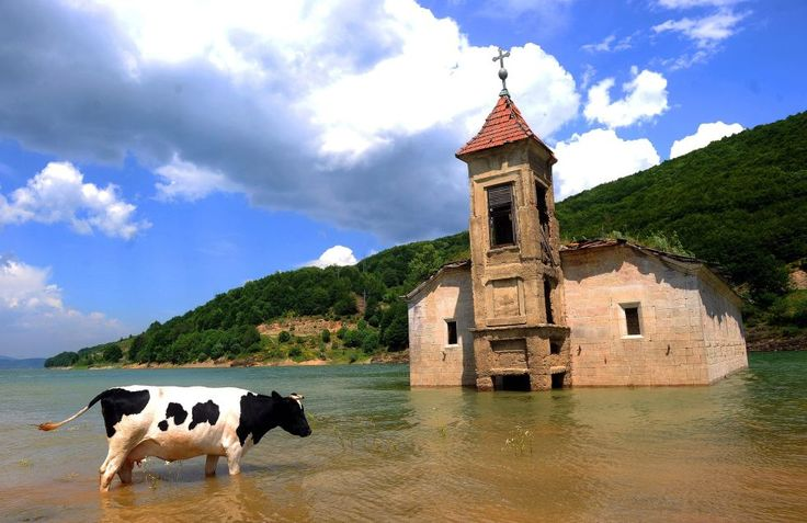 This flooded church of Saint Nicholas sits in the Mavorvo Lake in Macedonia.