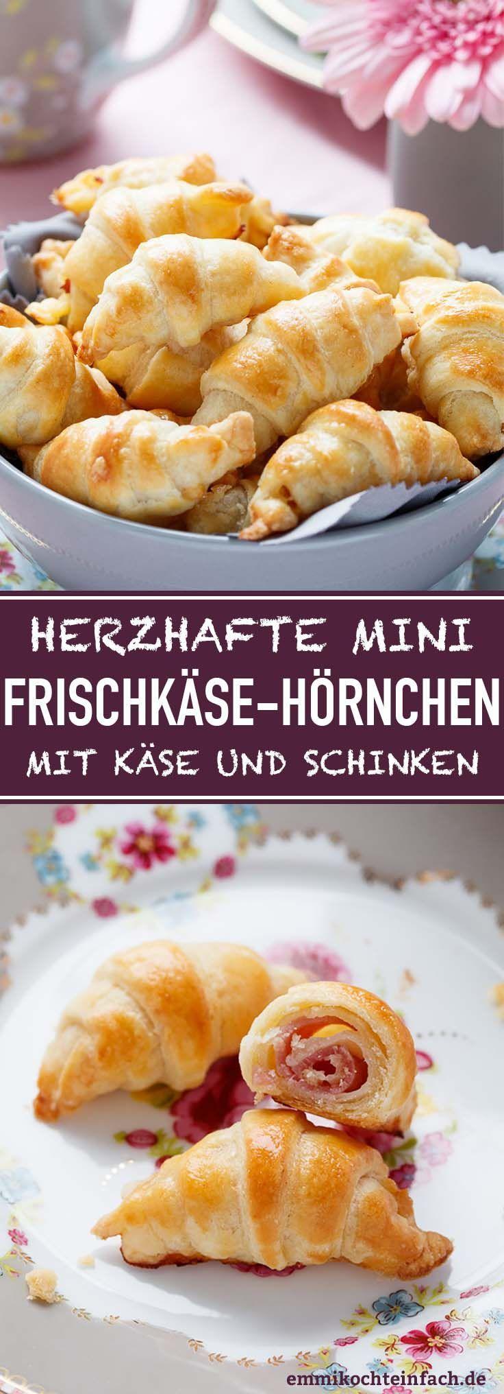 Mini Frischkäse Hörnchen mit Käse und Schinken