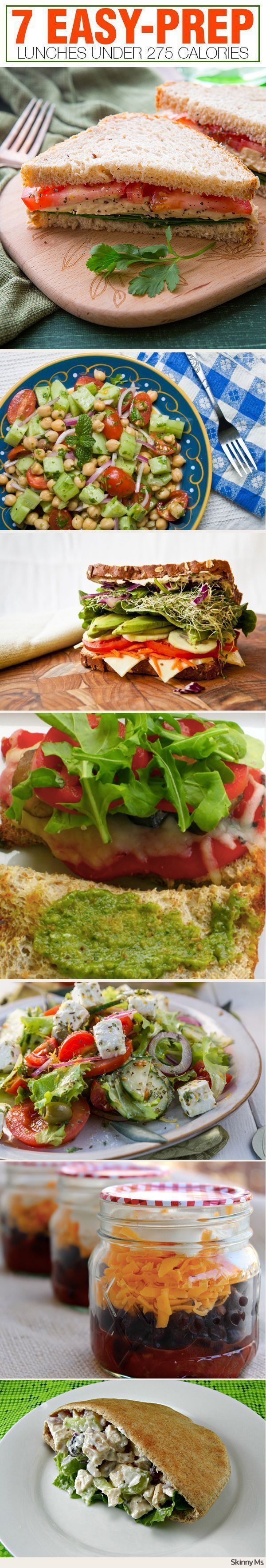 7 Easy-Prep Lunches Under 275 Calories perfect for weekday lunches! #easylunches #lowcalorie #lunch