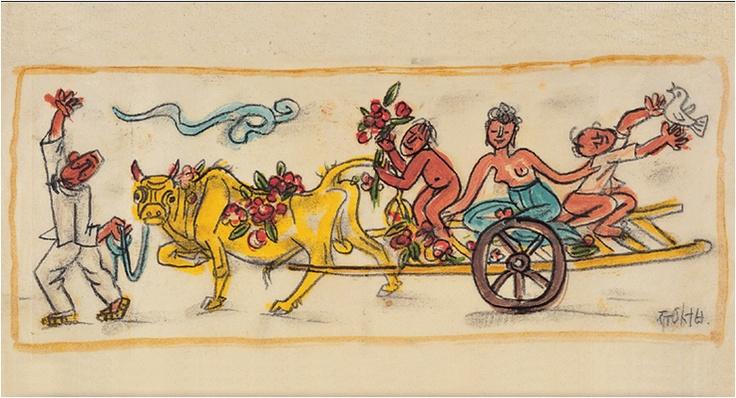 <길 떠나는 가족 by 이중섭> 이중섭은 일본으로 건너가 있는 가족에게 많은 그림 엽서를 보냈다. 이 그림도 엽서에 그려져 있는 그림 중 하나이다. 그림에는 가족들 모두가 웃고 있다. 또 꽃과 새가 더해져서 그림 전체가 화사해 보인다. 그런데 신기한 것은 이 그림에 있는 이중섭의 식구들이 웃고 있지만 슬퍼보인다는 것이다. 이 작품은 이중섭의 가족에 대한 그리움과 한을 아름답게 승화한 작품이라고 볼 수 있다. 편지에는 e-메일이나 문자메시지와 달리 그림으로 자신의 생각을 더 효과적으로 표현할 수 있는 장점이 있는 것 같다. 받는 사람으로 하여금 더 큰 감동을 느끼게 할 수 있다.