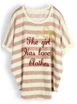 pink short sleeve stripe round neck cotton print T-shirt