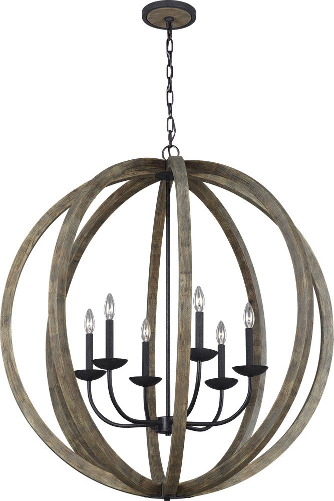 Feiss F3186-6WOW-AF Allier Weathered Oak Wood / Antique Forged Iron Chandelier Light - MF-F3186-6WOW-AF