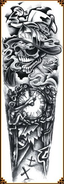 1pc full arm tattoo stickers large flower shoulder fake tattoos sleeves for man body paint death skull rose Black Fire Death48