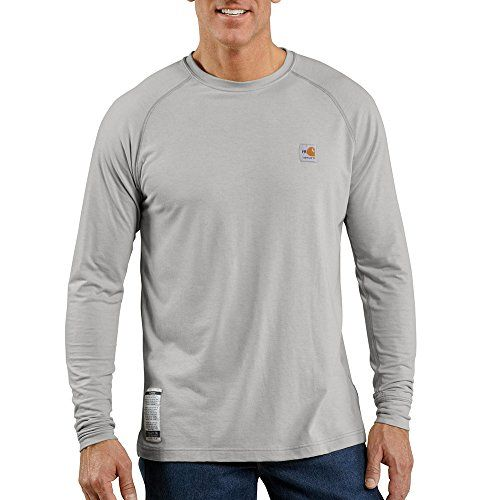 Carhartt Men's Flame Resistant Force Long Sleeve T-Shirt,Light Gray,Medium:   Carhartt's flame-resistant work-dry long-sleeve t-shirt provides anti-odor and moisture wicking properties. Made of a 5.5-ounce, flame-resistant 55% modacrylic/45% cotton blend, it is intended for use as a base layer.  it features stretchable, spandex rib-knit fabric with side-seamed construction and a square hem. A carhartt fr and hrc 1 labels sewn on the side seam.