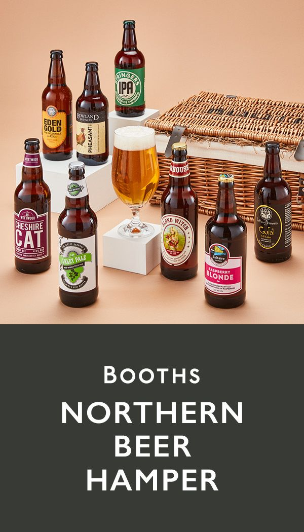 Carefully curated, find a selection of 8 of the best beers from Booths country in our Northern Beer Hamper.