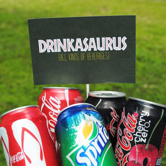 Drinks for a Dinosaur party: I love the jurrasic park font, and so would gabe.