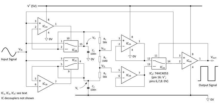 Schmitt trigger adapts its own thresholds | EDN