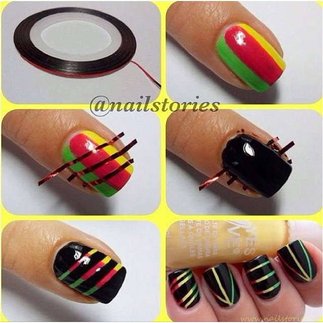 LikeNails Art, Nailart, Nails Design, Nailsart, Nails Ideas, Nails Polish, Rasta Nails, Scratch Art, Nails Tutorials