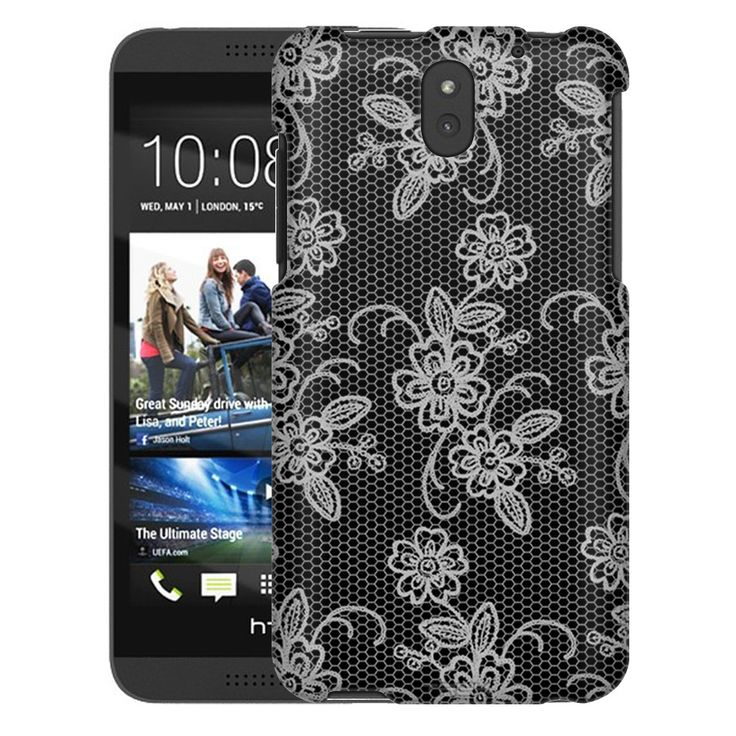 HTC Desire 610 Blooming Floral Lace on Black Trans Case